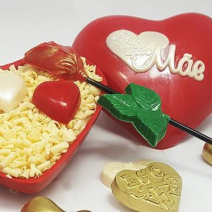 Forma para Chocolate com Silicone Coração Super Mãe 500g Ref. 57 BWB 1unid