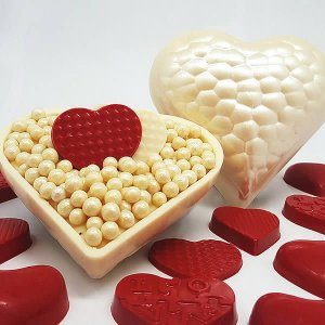 Forma para Chocolate com Silicone Coração Textura Gouge 200g Ref. 9397 BWB 1unid