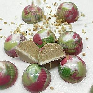 Forma para Chocolate com Silicone Bombom Meio Riscado 16g Ref. 9572 BWB 1unid