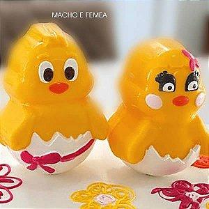 Forma para Chocolate com Silicone Ovotinho(a) Pintinho(a) no Ovo (CASAL) 450g (Conjunto) Ref. 9776 / 9777 BWB 1unid