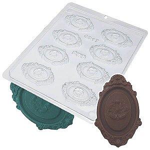 Forma para Chocolate Camafeu Detalhe 8g Forma Simples Ref. 9317 BWB 5unids