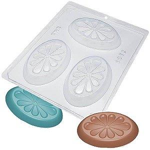 Forma para Chocolate Sabonete Oval Petala Forma Simples Ref. 1062 BWB 5unids