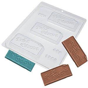 Forma para Chocolate Placa Feliz Páscoa 45g Forma Simples Ref. 1380 BWB 5unids