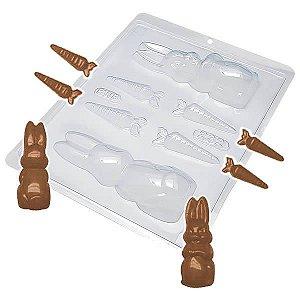 Forma para Chocolate Coelho com Cenoura 157g Forma Simples Ref. 232 BWB 5unids