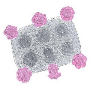 Molde de Silicone Sexteto de Florzinhas Ozawa cod. 334 flexarte (1unid) Molde Forneavel, Molde para Biscuit e Sabonete