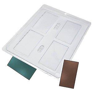 Forma para Chocolate Placa Retangular Alongada 26g Forma Simples Ref. 709 BWB 5unids