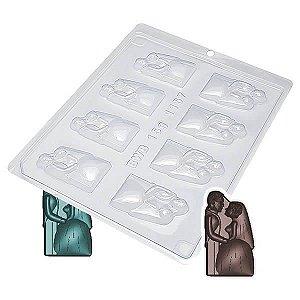 Forma para Chocolate Casal Noivos 15g Forma Simples Ref. 1157 BWB 5unids