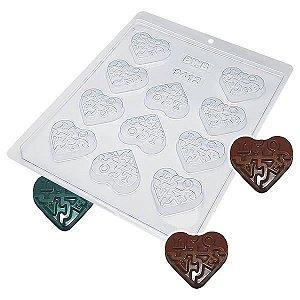 Forma para Chocolate Coração Doce de Amor 12g Forma Simples Ref. 9412 BWB 5unids