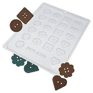 Forma para Chocolate Botões Forma Simples Ref. 9290 BWB 5unids