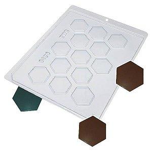 Forma para Chocolate Hexagonal Detalhado 4g Forma Simples Ref. 9423 BWB 5unids