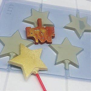 Forma para Chocolate Pirulito Estrela 21g Forma Simples Ref. 9577 BWB 5unids