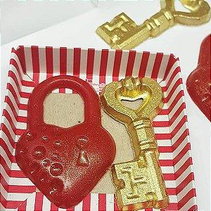 Forma para Chocolate Chave e Cadeado Coração Forma Simples Ref. 9751 BWB 5unids