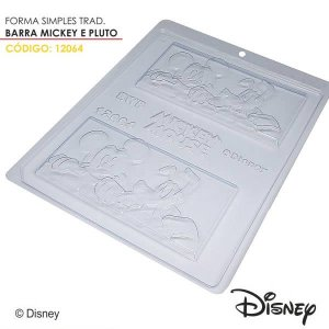 Forma para Chocolate Barra Mickey e Pluto 75g Ref. 12064 BWB Licenciada Disney 10unid