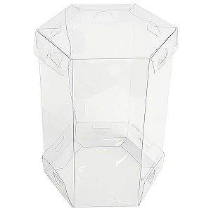 PS-1 (9x9x14 cm) Caixa Sextavada de Plástico Transparente 10unid