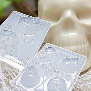 KIT (2pçs) Forma para Chocolate com Silicone Crânio Cabeça Caveira Esqueleto Halloween (P) 40g 9997 / (M) 16g 10036 BWB