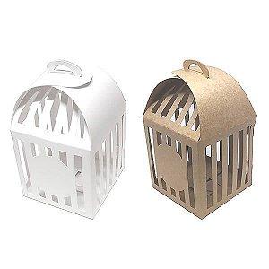 KIT (20pçs) Caixa Gaiola Branca/Kraft (7.8x7.8x8.5 cm) Embalagem Gaiola para Lembrancinhas