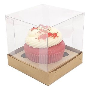 Caixa para 1 Cupcake Grande (8,5x8,5x8,5 cm) KIT50 10unids Caixa de Acetato