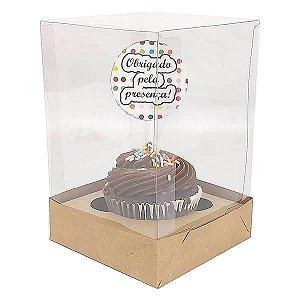 Caixa para 1 Cupcake Grande (10x10x12 cm) KIT53 10unids Caixa de Acetato