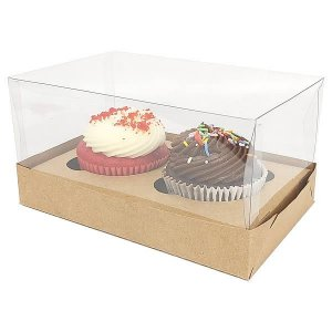 Caixa para 2 Cupcakes Grandes (17,6x11x9 cm) KIT54 10unids Caixa de Acetato