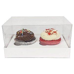 Caixa para 2 Cupcakes Pequenos (12,8x6,5x6 cm) KIT5 10unids Caixa de Acetato