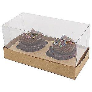 Caixa para 2 Cupcakes Pequenos (12,8x6,5x6 cm) KIT6 10unids Caixa de Acetato