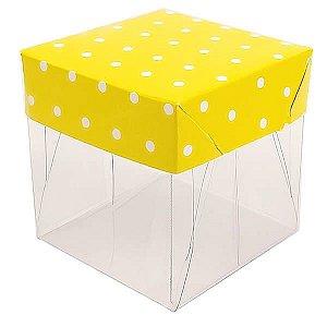Caixa de Acetato com Base Amarela Poá 10unid
