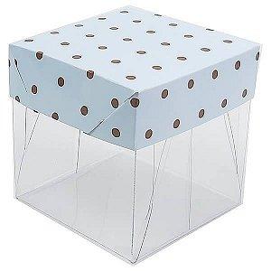 Caixa de Acetato com Base Azul Claro Poá Marrom 10unid