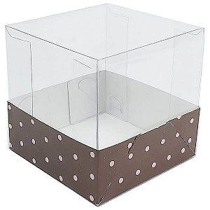 Caixa de Acetato com Base Marrom Poá Rosa 10unid