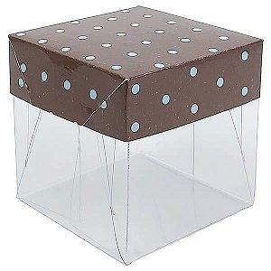 Caixa de Acetato com Base Marrom Poá Azul 10unid