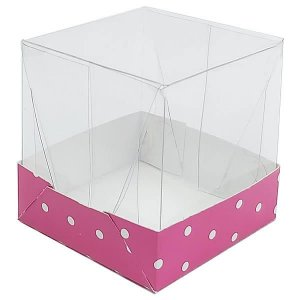 Caixa de Acetato com Base Pink Poá 10unid