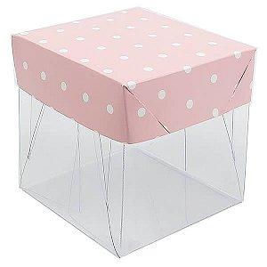 Caixa de Acetato com Base Rosa Poá 10unid