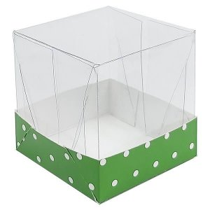 Caixa de Acetato com Base Verde Escuro Poá 10unid