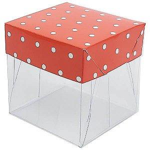 Caixa de Acetato com Base Vermelha Poá 10unid