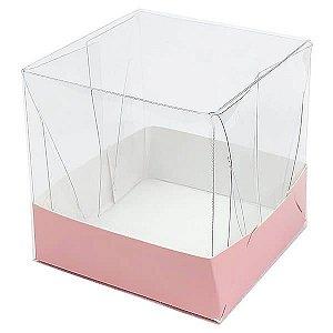 Caixa de Acetato com Base Rosa Lisa 10unid