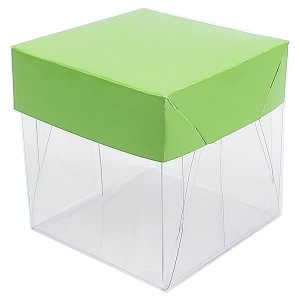 Caixa de Acetato com Base Verde Claro Lisa 10unid
