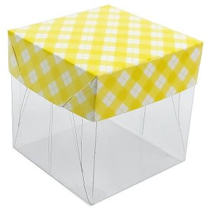 Caixa de Acetato com Base Amarela Xadrez 10unid