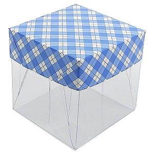 Caixa de Acetato com Base Azul Escuro Xadrez 10unid