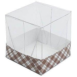 Caixa de Acetato com Base Marrom Xadrez 10unid