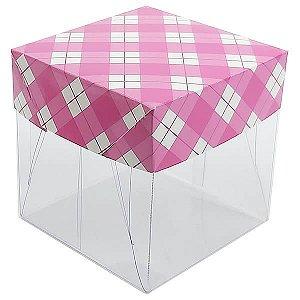 Caixa de Acetato com Base Pink Xadrez 10unid