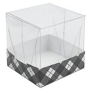 Caixa de Acetato com Base Preta Xadrez 10unid
