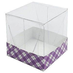 Caixa de Acetato com Base Roxa Xadrez 10unid