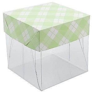 Caixa de Acetato com Base Verde Claro Xadrez 10unid