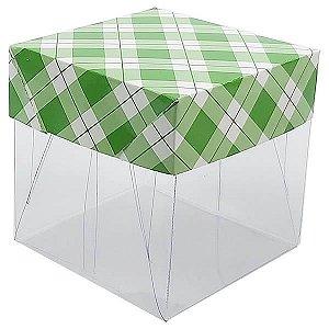 Caixa de Acetato com Base Verde Escuro Xadrez 10unid
