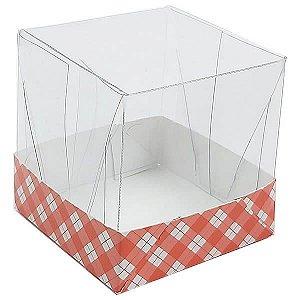 Caixa de Acetato com Base Vermelha Xadrez 10unid
