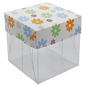 Caixa de Acetato com Base Flores 10unid