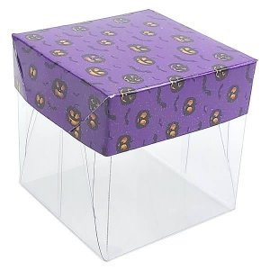 Caixa de Acetato com Base Halloween Roxo 10unid