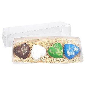 Caixa Branca TRP-324 (27x10x5 cm) Embalagem para 4 Trufas Coração Lapidado 65g Ref.9836 10unid