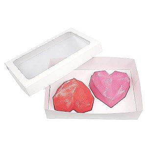 Caixa (20x13x5 cm) Embalagem para 2 Meio Corações Lapidados 200g Ref.9837 KIT120 10unids Caixa de Acetato