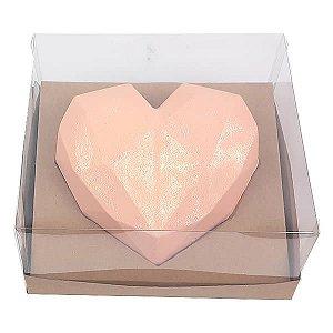 Caixa (19x17.5x9 cm) Embalagem para Meio Coração Lapidado 500g Ref.9838 inclinado em 45graus KIT123 10unids Caixa de Acetato