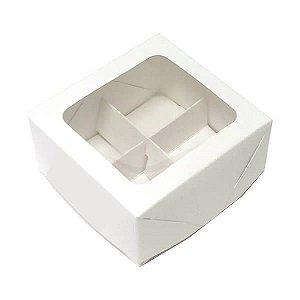 Caixa 4 Divisórias (Branca) (8x7.5x4 cm) 10unid Caixa para Brigadeiros